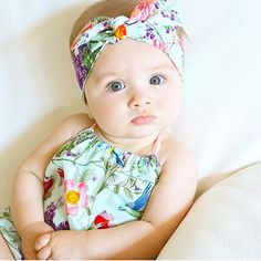Mint Floral Baby Girl Romper with knotted by BubbyMakesThree
