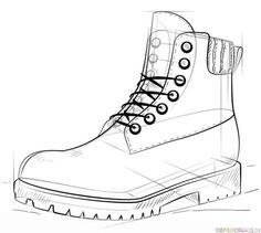 How to draw a hiking boot step by step. Drawing tutorials for kids and beginners. How to draw a hiking boot step by step. Drawing tutorials for kids and beginners. 3d Drawing Tutorial, Fashion Drawing Tutorial, Drawing Tutorials For Kids, Drawing For Beginners, Art Tutorials, Drawing Fashion, Drawing Ideas, Draw Boots, 3d Drawing Techniques