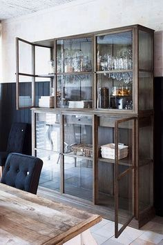 {this is glamorous} : adventures in love, design, fashion, home decor, food and travel: {storage inspiration: time-worn wood & glass} Glass Front Cabinets, Curio Cabinets, China Cabinets, Crockery Cabinet, Cupboards, Muebles Living, Wood Glass, Grey Glass, Glass Door