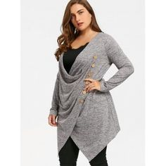 Plus Size Crossover Marled Tunic Top - GRAY 5XL Cheap Tank Tops 1617e1d57ebf