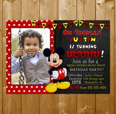 Mickey Mouse Invitation with Photo Disney by KidsPartySuppliesPL