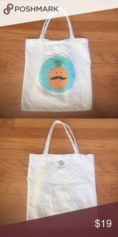 Pineapple Mustache Tote Bag Quirky canvas tote perfect for eco friendly grocery shopping or stashing for on the go.  Has small hole at side seam that I have not tried to fix. 🍍 kikichoo Bags Totes