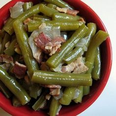 Green Beans Slow Cooked with Bacon and Onions. I loved these and added them to my fav crockpot recipes. I didn't measure just dumped it into the pot and let it cook all day. YUMMY!