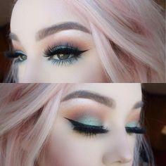 Pastel hair, soft blended colorful eye