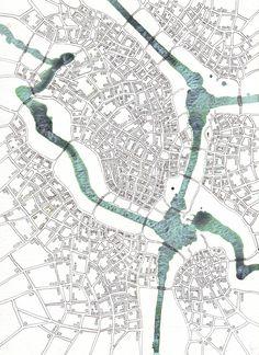 Downtown Cityspace art #map, by Emily Garfield