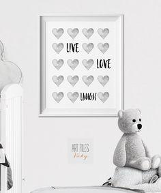 Kindergarten drucken, Wandkunst, Poster, minimaler Druck, schwarz und weiß, Leben Liebe lachen, Angebot drucken, Kinderzimmer, Kinderzimmer Dekor, ArtFilesVicky
