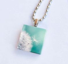glass tile pendant Dandelion photography by mylittlepixels on Etsy, $12.00