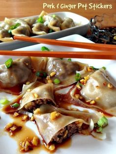 Pork and ginger filled pot stickers that you can make at home! A tasty and healthy appetizer or dinner!