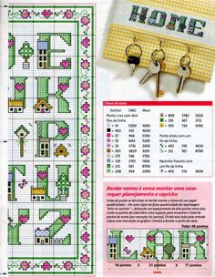 Cross-stitch Lil Homes ABCs, part with the color chart. Cross Stitch Letters, Cross Stitch Boards, Alphabet Charts, Alphabet And Numbers, Cross Stitching, Cross Stitch Embroidery, Cross Stitch Designs, Stitch Patterns, Plastic Canvas Letters