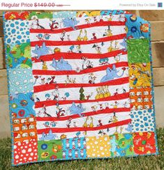 Dr Seuss Quilt: cute and simple pattern, I especially like since I have these fabrics