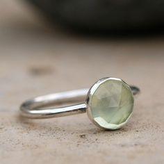 Prehnite Sterling Silver Stacking Ring by Deborah M Lock