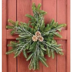 Create a snowflake wreath using the left over branches cut from the bottom of your Christmas tree. These would make nice window decorations instead of the typical wreaths. Noel Christmas, Rustic Christmas, Winter Christmas, Christmas Greenery, Christmas Projects, Holiday Crafts, Holiday Ideas, Natal Country, Snowflake Wreath