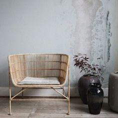 Fauteuil design rotin naturel House Doctor Coon Rotin naturel, métal fer 70 x 65.5 x H 70 cm, H de l'assise: 36 cm