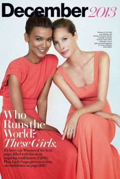 'The Role Models' American Glamour, December 2013 Christy Turlington, Liya Kebede (Models) Patrick Demarchelier (Photographer) Liya Kebede, Patrick Demarchelier, Christy Turlington, Jourdan Dunn, Joan Smalls, Glamour Magazine, Living Dolls, Coral Dress, Cara Delevingne