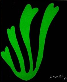 Henri Matisse - Alge Verte. 1953 (81*65cm) It is a bit simple but I like the diverseness and contrast of color here. The light green with a dark color, black. The colors help to bring each other out.