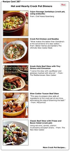 Recipe Collection: Hot and Hearty Crock Pot Dinners and Crock Pot Recipes - Recipelink.com