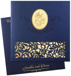 www.regalcards.com for these fascinating laser cut gold Hindu wedding invitation. Beautiful gold foiled Ganesh image will leave one and all spellbound. #regalcards #elegantweddingcards #elegantinviatationcards #designerweddingcards #indianweddingcards #muslimweddinginvites #punjabimarriagecards #interfaithweddingcards #invitesfromindia #discountedinvitationcards #hinduweddingcard #indianweddingcard