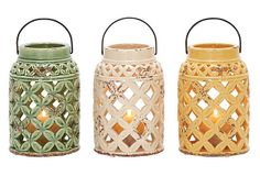Ceramic lanterns...great for a deck or patio...or to just hang!