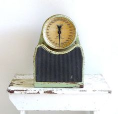 I love this scale, it has such character Floor Scale, Vintage Scales, Bathroom Scales, Petite Models, Mint Green, Clock, Flooring, Character, Watch