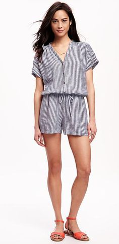 Save time thinking about what to wear and throw on a comfy striped romper.