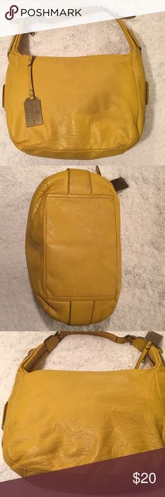 Ralph Lauren yellow leather hobo purse This bag has been used and leather shows discoloration that I feel pictures aren't picking up.  Cracking to strap at buckles and is worn under strap.  Bottom is slightly dirty. Inside zip and two pouches. 9 in height 6 in wide 12 in long Leather is very soft and is the prettiest shade of yellow.  Would still use it but I cannot use shoulder bags anymore. Non smoking home Cat and dog friendly.  Not allowed in closet. No trades. Offers welcomed See my…