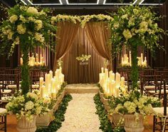 Wedding decorations will need to seem good throughout the ceremony and the whole wedding reception. For both the ceremony and the reception, there are a large assortment of inexpensive wedding decorations that may nonetheless be lovely and tasteful. Wedding Ceremony Ideas, Church Wedding Decorations, Wedding Altars, Chapel Wedding, Rustic Wedding, Trendy Wedding, Elegant Wedding, Wedding Church, Decor Wedding