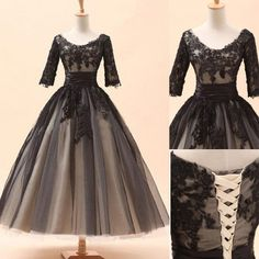 Lace Prom Dresses,Ankel Length Evening Dress,Half Sleeves Prom Dress,Tulle Prom Dress,Charming Prom Gown,Sexy Prom Dress,Black Prom Gown,Modest Evening Gowns For Teens