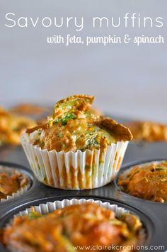 Savoury muffins with feta pumpkin and spinach | #pumpkin #spinach #vegetarian