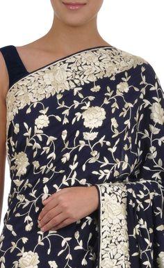 Masterpiece Navy Blue-Ivory Hand Embroidered Parsi Gara Saree