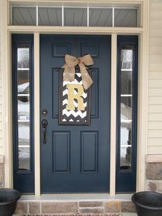 Spring door decor, large chevron wood letter for front door