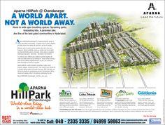 Aparna HillPark is a magical suburban cluster of world-class gated communities.  www.aparnaconstructions.com