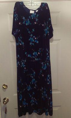 Fashion Bug Woman's Plus Light/Dark Blue/Green Floral Dress Size 22/24 #FashionBug #Dress #Casual