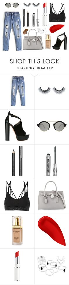 """In the Street"" by numeroooo1 ❤ liked on Polyvore featuring Aquazzura, Illesteva, Burberry, Bare Escentuals, Calvin Klein Underwear, MICHAEL Michael Kors, Elizabeth Arden, Lipstick Queen, Lancôme and Bobbi Brown Cosmetics"