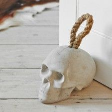 Skull Doorstop - concrete? cool!