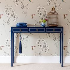 A luxurious Oriental Indigo blue Chinese elm console table; with three drawers and charming Oriental turned in feet Asian Furniture, Chinese Furniture, Oriental Furniture, Home Decor Furniture, Painted Furniture, Furniture Design, Art Deco, Art Nouveau, Chinese Interior