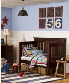 toddler boy room. Hopefully Ichi will have his own room. I'll order a blue cover for the PB chair we have.