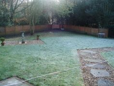 The Woburn Sands garden at planning stage. A blank canvas.....little here to inspire!