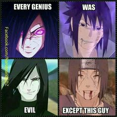 Yassss Itachi!! He was so awesome.--And Sasuke might not have actually been evil, but he was such an asshole that even Sakura deserved better.