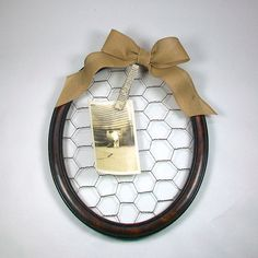 Antique Picture Frame Chicken Wire Memory Board by OldRedHenVintage.etsy.com