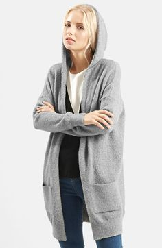 Free shipping and returns on Topshop Open Front Hooded Cardigan at Nordstrom.com. A slouchy hood tops a lightweight, soft-knit cardigan styled with an open front and a longline silhouette. Spacious front pockets and ribbed trim further the casual, everyday look.