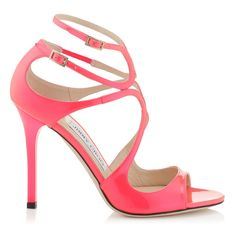 Geranium Neon Patent Strappy Sandals | Lang | Cruise 15 | JIMMY CHOO Shoes
