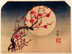Red Plum and Moonlight, woodblock print by Utagawa Hiroshige, 1797-1858, Japanese artist