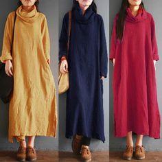ZANZEA Women Long Maxi Dress Split Casual Solid Loose High Neck Shirt Dress Plus