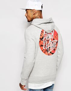"Hoodie by Friend or Faux Fleece-back sweat Drawstring hood Print to chest and reverse Front pouch pocket Ribbed cuffs and hem Regular fit - true to size Machine wash 70% Cotton, 30% Polyester Our model wears a size Medium and is 185.5cm/6'1"" tall"