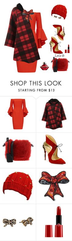 """""""Girls Night Out in Red, Plaid and a Bow!"""" by laila-bergan ❤ liked on Polyvore featuring WearAll, Jil Sander Navy, Christian Louboutin, Marc Jacobs, Giorgio Armani and Guerlain"""