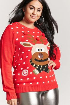 FOREVER 21+ Plus Size Knit Reindeer Sweater