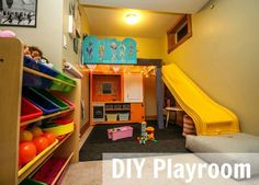 Turn a small space into a fun, organized playroom with these budget friendly, DIY ideas.
