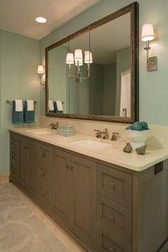 """Benjamin Moore """"Silver Marlin"""". The cabinets could be painted this way and the mirror"""