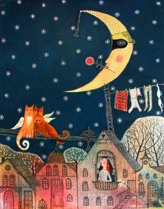 A whimsical illustration of angel cats beneath a bandit moon Illustration Art Nouveau, Children's Book Illustration, Art Beauté, Art Magique, Image Chat, Art Watercolor, Sun And Stars, Naive Art, Moon Art