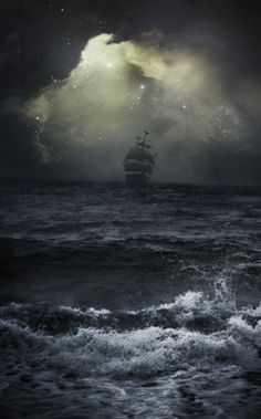 Upon a stormy sea.